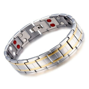 Men's Stainless Steel Double Row Magnetic Therapy Health Bracelet Pain Relief