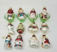 Christmas Figural Glass Ornaments Lot of 12