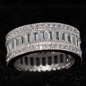 2.8ct Baguette Cut Diamond Wedding Ring Band 14K White Gold Over Full Eternity