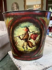 Peter Ompir Signed Folk Art Hand Painted Metal Bucket Trash Can Canister Tole