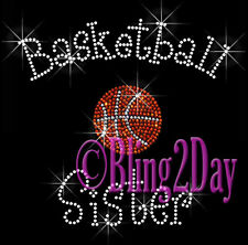 Basketball Sister - C Rhinestone Iron on Transfer Hot Fix Bling Sports School