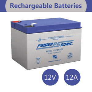 POWER SONIC 12V 12AMP SLA Rechargeable BATTERY F2 TERMINAL SEALED LEAD ACID