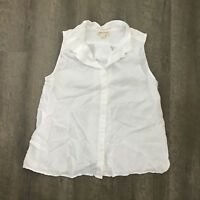 Cloth And Stone Womens Sleeveless Shirt Swing Back White Button Front Blouse