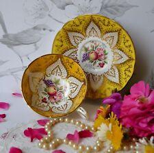 Paragon Teacup Yellow Gold Fruit Roses English Bone China Tea Cup Saucer Set