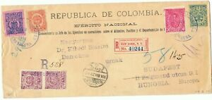 COLOMBIA 1904 Military inflation registered cover 1000 days war stamps rare