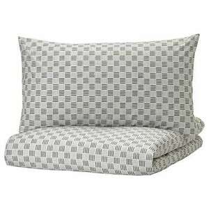 IKEA SILVERFRYLE Quilt Cover & Pillowcases Cotton Bed Linen Grey/White
