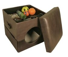 two tone Gray collapsible pet bed and storage ottoman