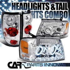 04-08 F-150 Chrome Halo Projector R8 LED DRL Headlights+Tail Brake Lamps