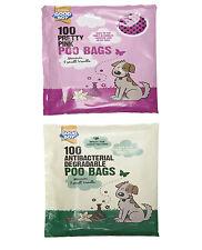 GOOD BOY Dog Puppy Poop Waste POO BAGS Scented Disposal Antibacterial Pink 100pc