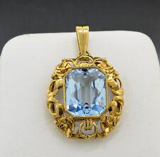 CIONDOLO 333 oro con topazio blu (35218)