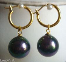 14mm Rainbow Black South Sea Shell Pearl 14K GP Dangle Earrings AAA+