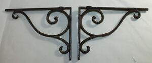 2 Shelf Brackets Supports Cast Iron Brace Antique Style Scrolls 7 x 9 1/2