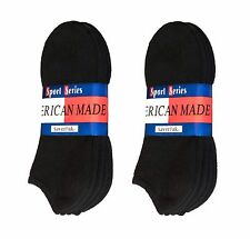 $averPak American Made Cotton Blend Black No Show Socks 6 Pair (Size 10-13)