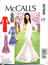 MCCALLS SEWING PATTERN 7569 MISSES SZ 6-14 FLARED TRUMPET, MERMAID, MAXI DRESSES