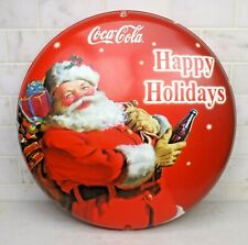 Vintage Coca Cola 2002 Happy Holidays Santa Double Sided Round Button Sign