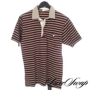 TRAD VINTAGE Brooks Brothers Blue Gold Maroon Contrast Khaki Clr Polo Shirt L NR