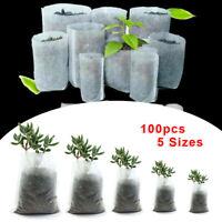100 PCS Biodegradable Non-Woven Nursery Bags Plant Grow Bags Pot Set US