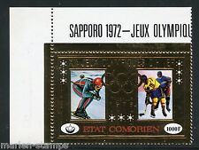 COMORES  INNSBRUCK  OLYMPICS 1972 GOLD FOIL STAMP SC#180  PERFORATE   MINT NH