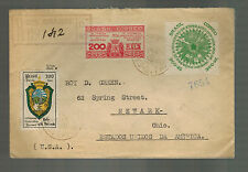1937 Bancos Brazil Registered cover to Newark OH USA Commercial Bank Sao Paulo