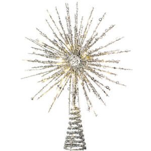 Christmas Tree Topper Xmas Glitter Star Burst with Warm LED Lights 32cm