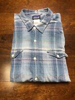 Patagonia Men's Organic Cotton Flannel Shirt Size Large Excellent Condition Blue