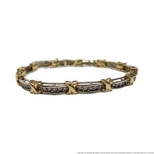 White & Yellow gold X Link Fine Diamond Tennis Bracelet Designer Signed