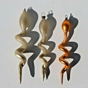 Three Antique Glass Snake Christmas Tree Ornaments, Unsilvered White and Pink