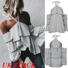 UK New Women Off Shoulder Top Ladies Ruffle Frill Long Sleeve Party Blouse Tops