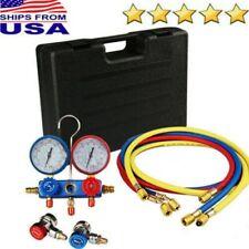 HVAC AC Refrigeration Kit A/C Manifold Gauge Set Air R12 R22 R134a + 5FT Hose US