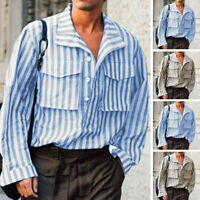 Mens Casual Striped Shirt Linen Loose Retro Striped Long Sleeve Collar Neck Tops
