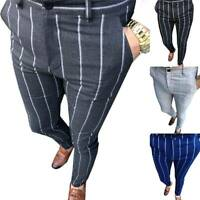 US Men Slim Fit Stripe Business Formal Pants Casual Skinny Office Slacks Trouser