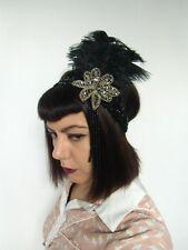 Headband rétro sequin noir plume autruches perles années folles charleston 20's