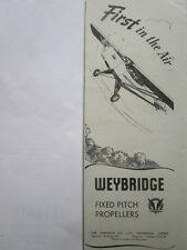 9/1946 PUB THE AIRSCREW CO WEYBRIDGE FIXED PITCH PROPELLERS HELICES ORIGINAL AD