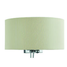 Drum Pleat 2 Light Cream Wall Bracket Fitting With Curved Shade & Frosted Glass