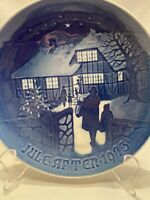"B&G Bing Grondahl Denmark Ceramic Plate Jule Aften After 1973 Blue 7"" Christmas"