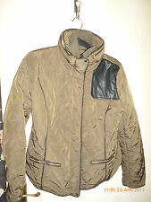 Zara Quilted Lightweight Short Jacket Concealed Hood L Olive Khaki Elbow Patches