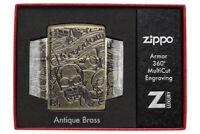 Zippo Feuerzeug Freedom Skull Multicut Armor Case Antique Brass 60004900