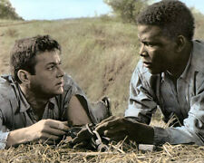 """TONY CURTIS SIDNEY POITIER THE DEFIANT ONES 1958 8X10"""" HAND COLOR TINTED PHOTO"""