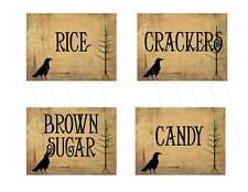 Primitive, Vintage Style Crow Canister  Labels     #FH478