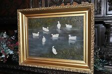 Wonderful old Duck in Pond Painting Oil on Canvas