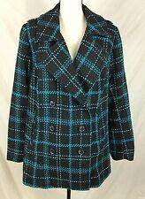 Lane Bryant Jacket Sz 18/20 Black Teal Blue Green Turquoise Plaid Tweed Pea Coat
