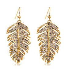 Yellow Gold White Silver Zircon Feathers Ladies Solid Drop Dangle Earrings Sale