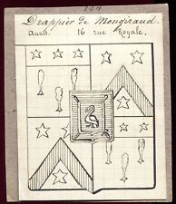 """ancien dessin à la plume.héraldique blason """" DRapier De Mongiraud """" rue Royale"""