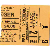 PETE SEEGER Concert Ticket Stub WASHINGTON DC 10/21/66 LISNER AUDITORIUM Rare