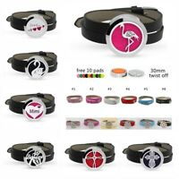 30mm 316L Diffuser Aromatherapy Essential Oil Leather Wristband Locket Gifts