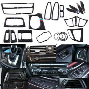 11PCS/Set Real Carbon Fiber Interior Trim Decor Cover For BMW 3 4 Series F30 F34