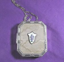 VINTAGE POWDER COMPACT ON CHAIN/WRISTLET MESH ENAMEL ENGRAVED