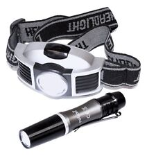 Head Lamp with Torpedo Pen Torch LED, Elastic Straps with Batteries - ROLSON