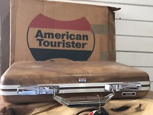 Vintage Escort American Tourister Briefcase Attache Hard Shell Brown Luggage