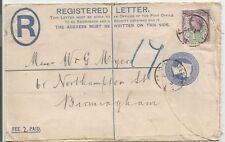 1895  2d REGISTERED LETTER SENT TO BIRMINGHAM UPRATED 1.5d JUBILEE SEE SCANS